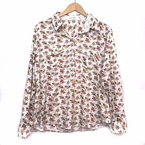 ANTHROPOLOGIE PETITE White Pink Floral Popover Top